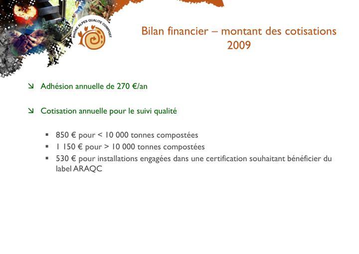 Bilan financier – montant des cotisations 2009