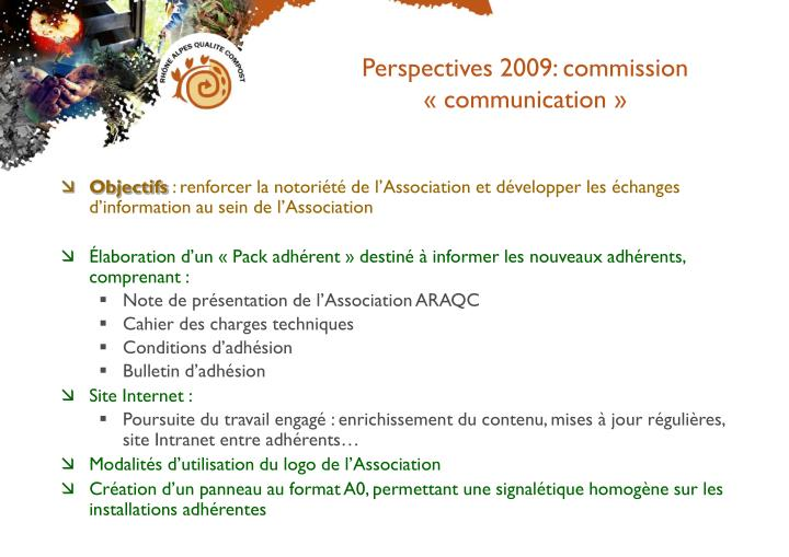 Perspectives 2009: commission « communication »