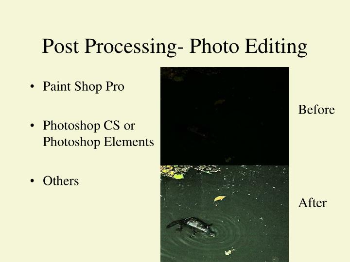 Post Processing- Photo Editing