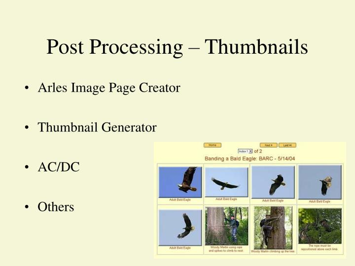 Post Processing – Thumbnails
