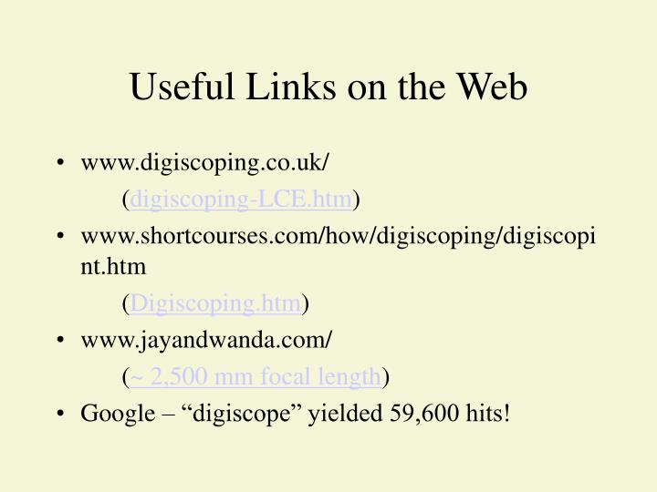 Useful Links on the Web