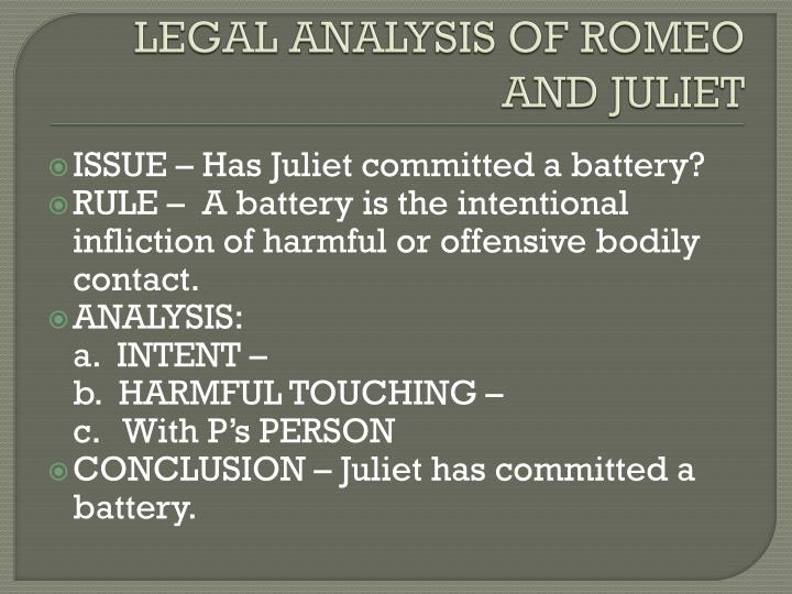 LEGAL ANALYSIS OF ROMEO AND JULIET