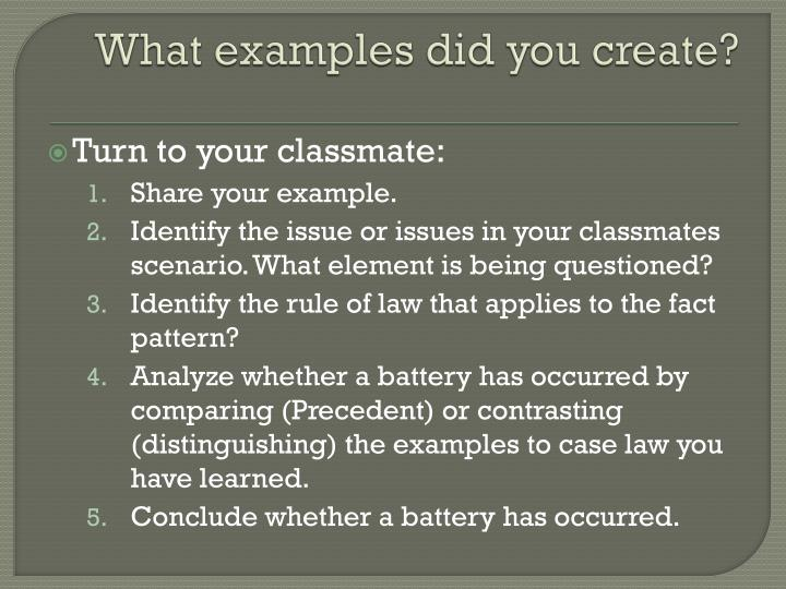What examples did you create?