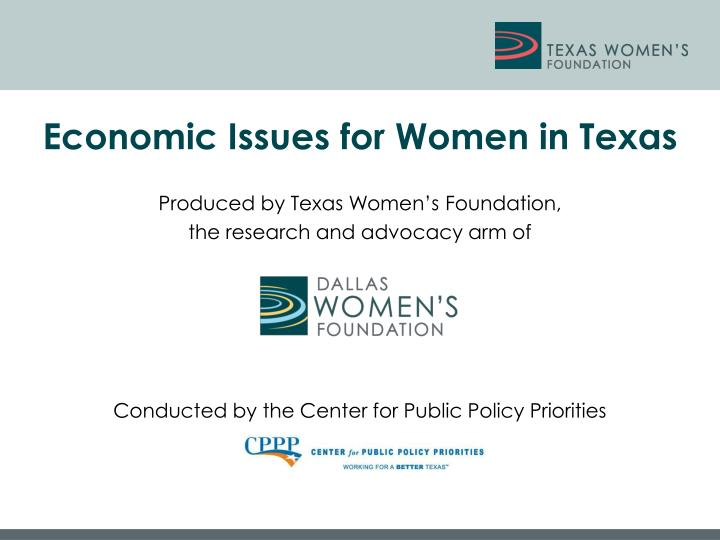Economic Issues for Women in Texas