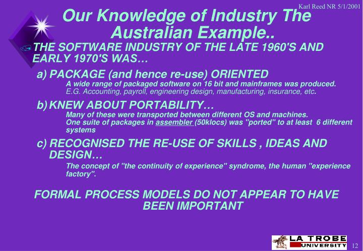 Our Knowledge of Industry The Australian Example..