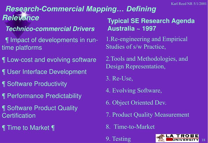 Research-Commercial Mapping… Defining Relevance