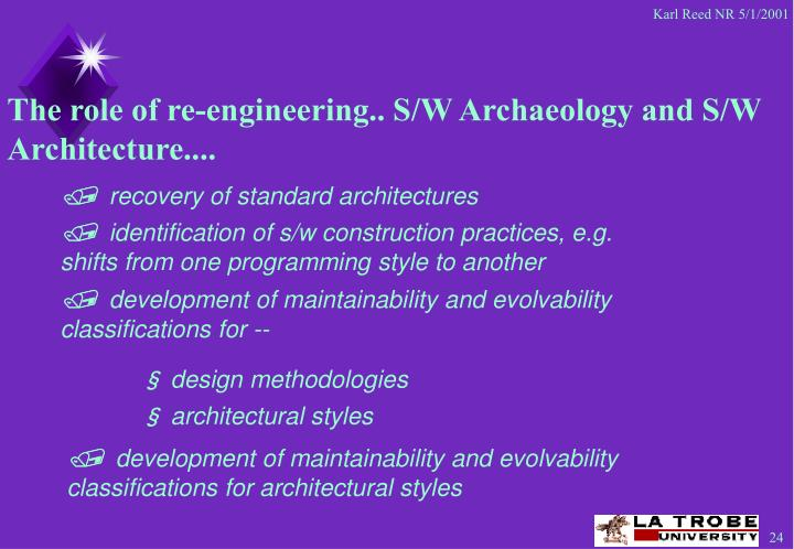 The role of re-engineering.. S/W Archaeology and S/W Architecture....