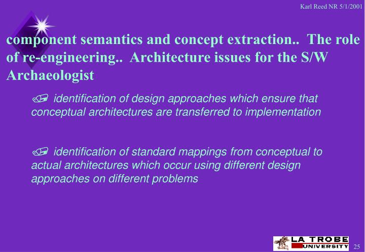component semantics and concept extraction..  The role of re-engineering..  Architecture issues for the S/W Archaeologist