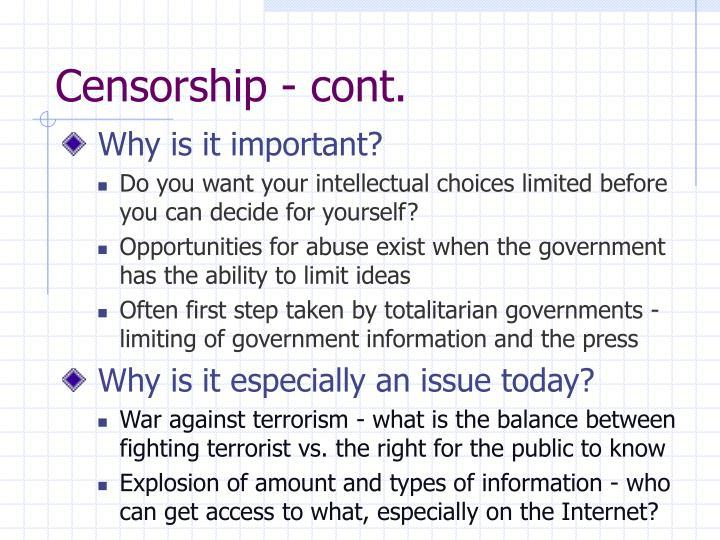 Censorship - cont.