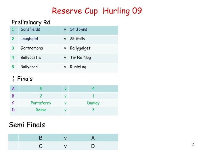 Reserve Cup  Hurling 09