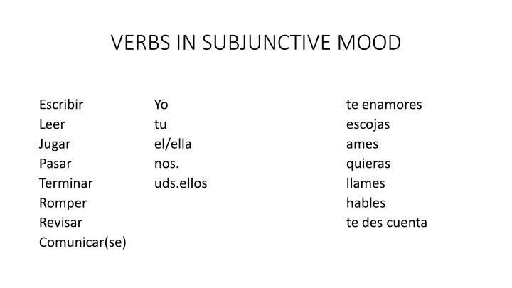 VERBS IN SUBJUNCTIVE MOOD