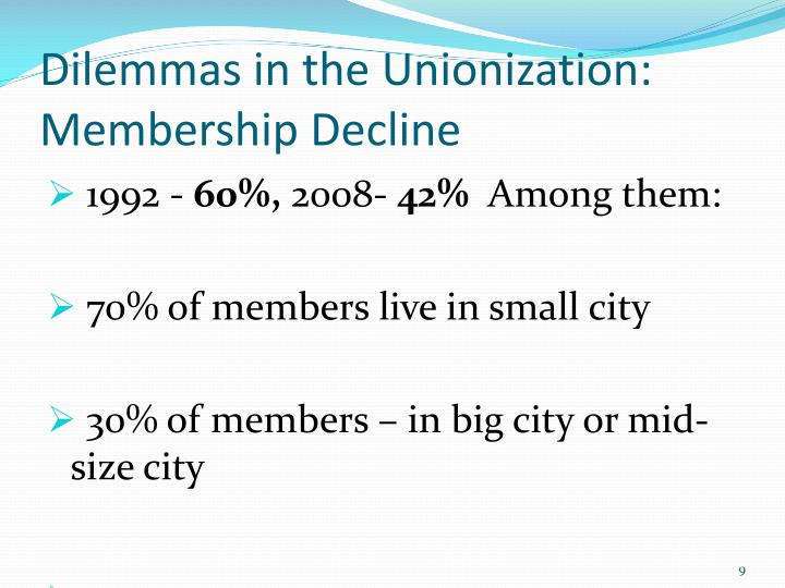 Dilemmas in the Unionization: Membership Decline