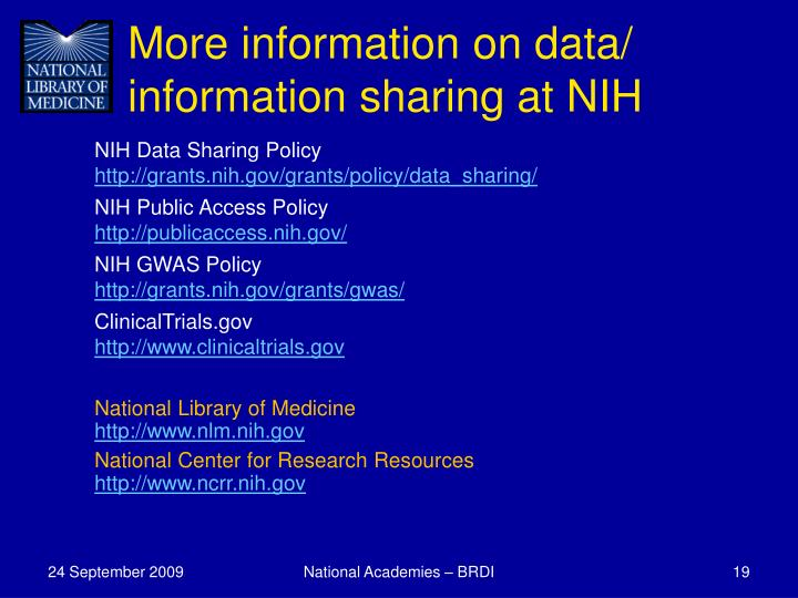 More information on data/ information sharing at NIH