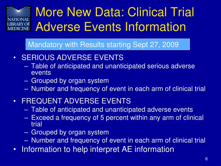 More New Data: Clinical Trial Adverse Events Information