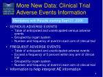 more new data clinical trial adverse events information