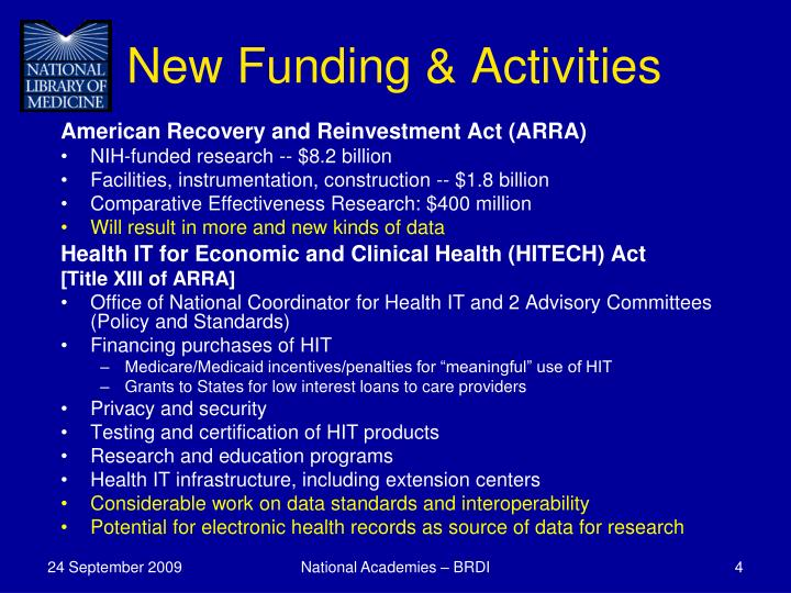 New Funding & Activities
