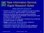 new information service rapid research notes