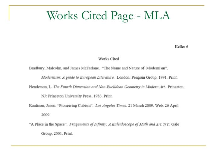 Works cited page mla
