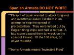 spanish armada do not write