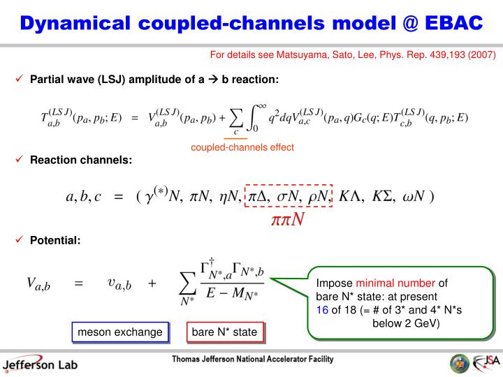 Dynamical coupled-channels model @ EBAC