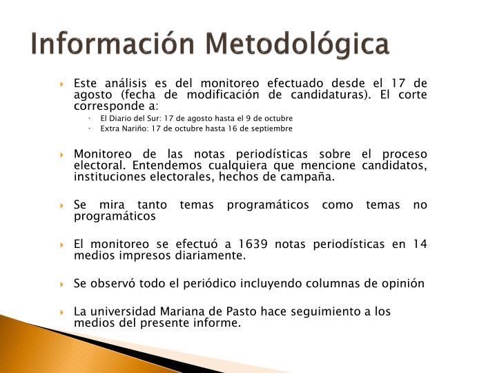 Información Metodológica