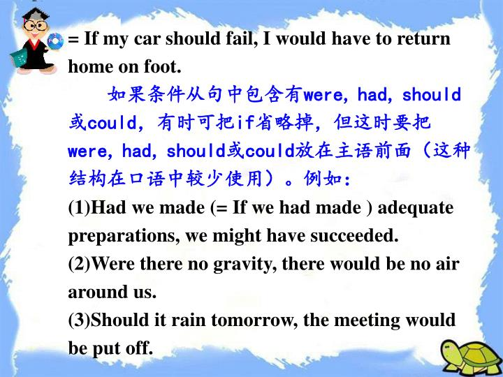 = If my car should fail, I would have to return