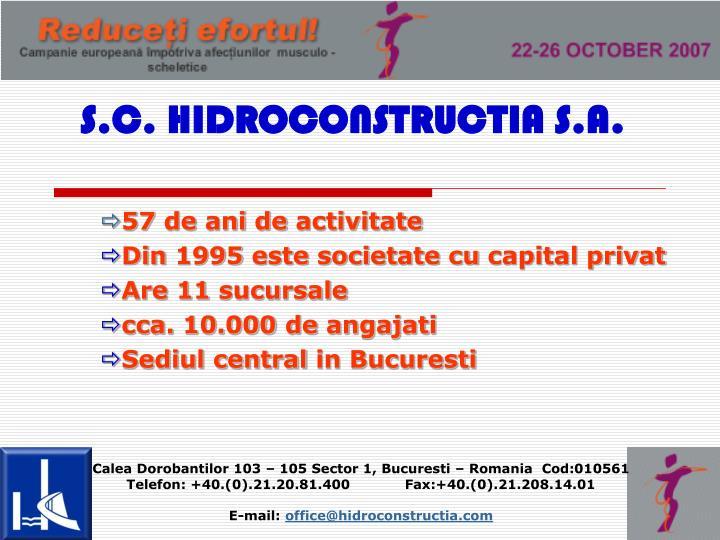 S.C. HIDROCONSTRUCTIA S.A.