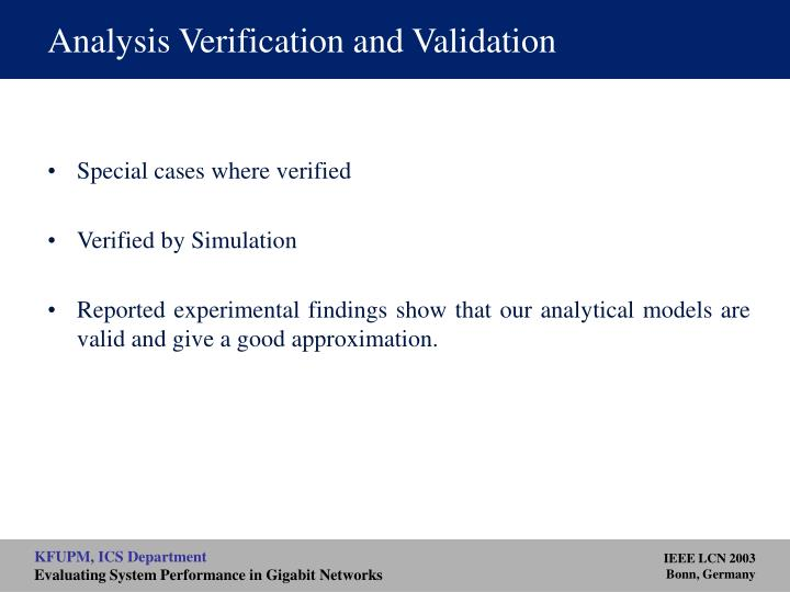Analysis Verification and Validation