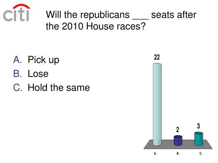 Will the republicans ___ seats after the 2010 House races?