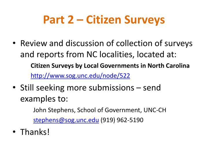 Part 2 – Citizen Surveys