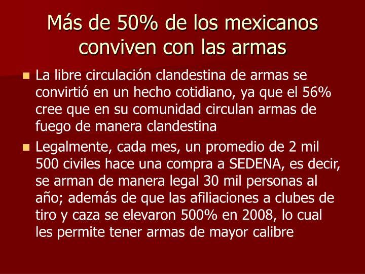 Más de 50% de los mexicanos conviven con las armas