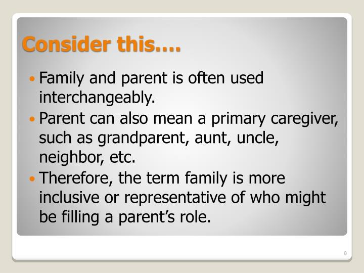 Family and parent is often used interchangeably.
