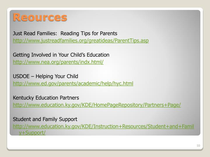 Just Read Families:  Reading Tips for Parents