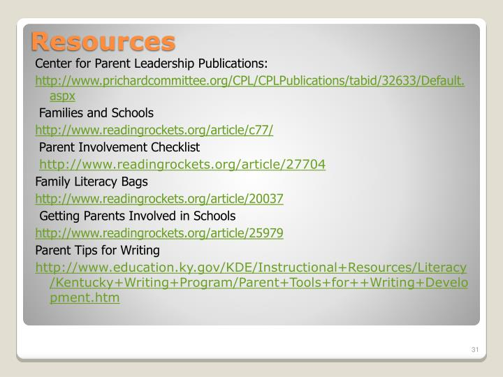 Center for Parent Leadership Publications: