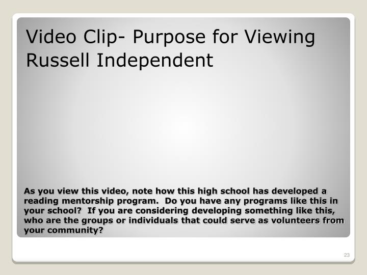 Video Clip- Purpose for Viewing