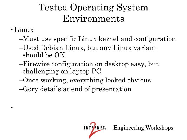 Tested Operating System Environments