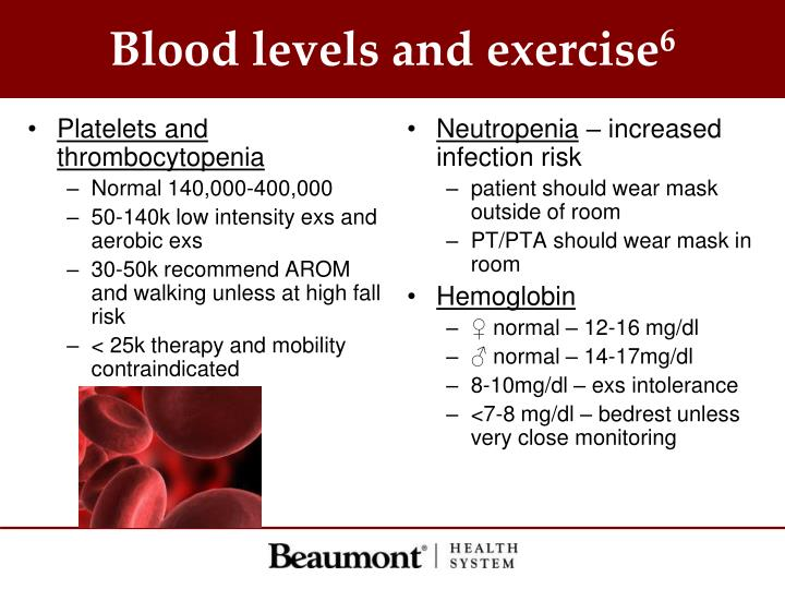 Blood levels and exercise