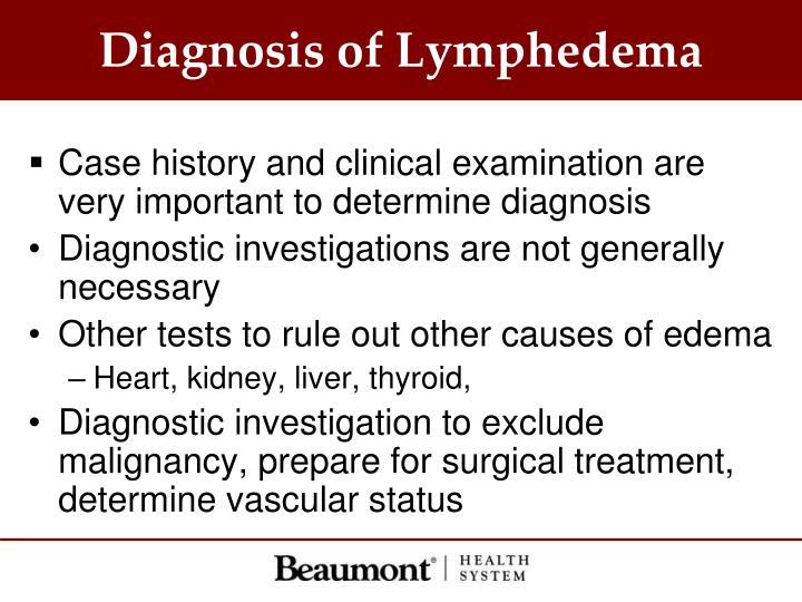 Diagnosis of Lymphedema