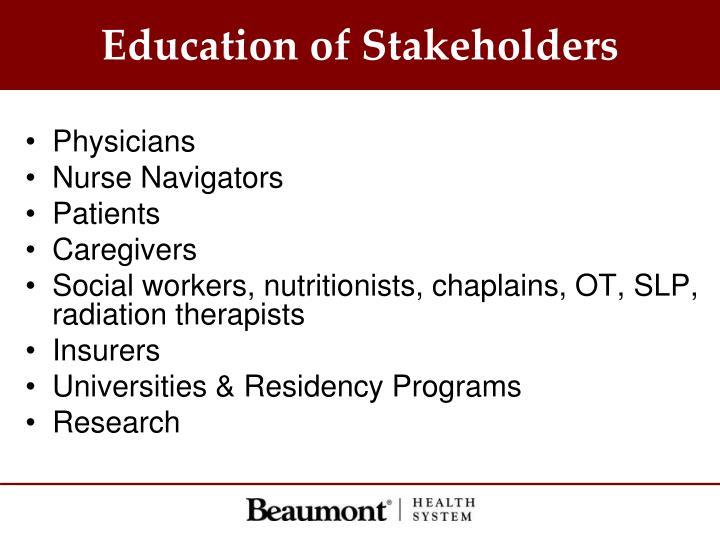 Education of Stakeholders