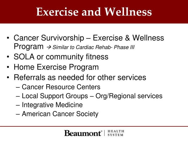 Exercise and Wellness