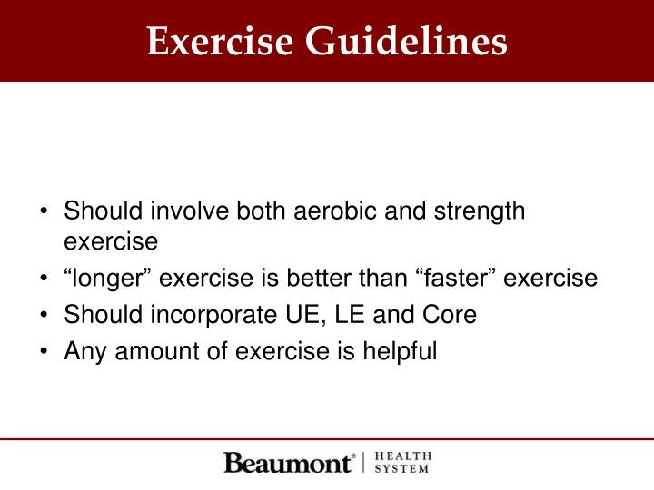Exercise Guidelines