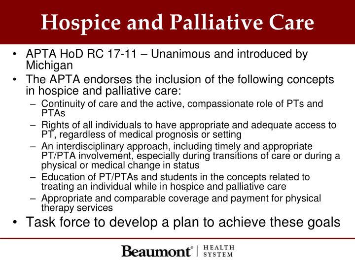 Hospice and Palliative Care
