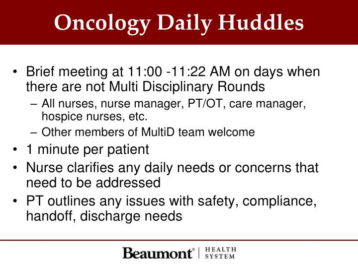 Oncology Daily Huddles