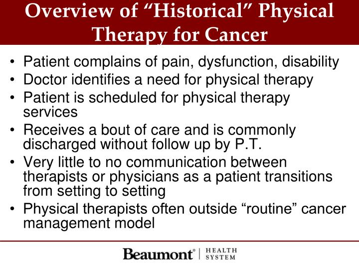 """Overview of """"Historical"""" Physical Therapy for Cancer"""