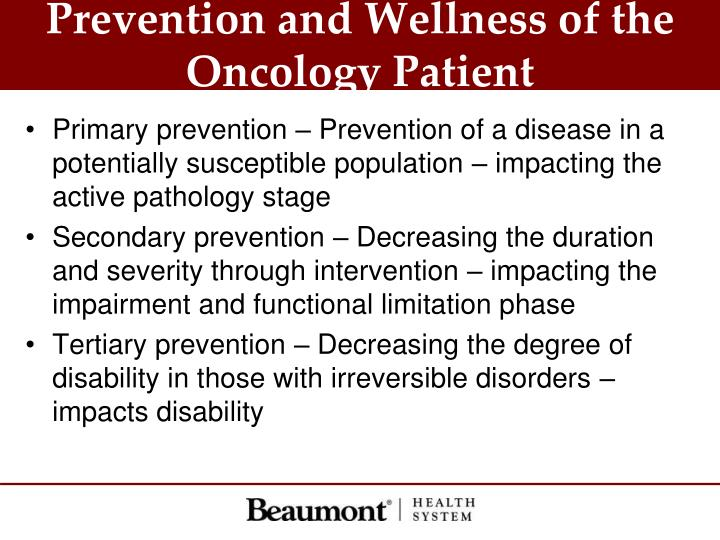 Prevention and Wellness of the Oncology Patient
