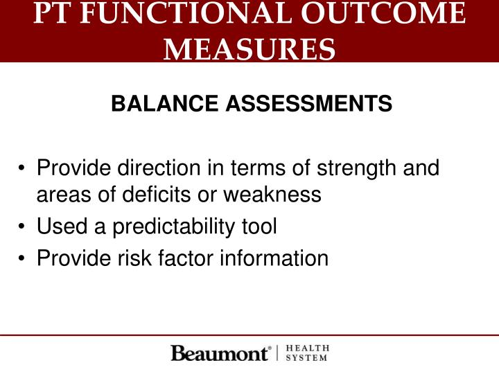 PT FUNCTIONAL OUTCOME MEASURES