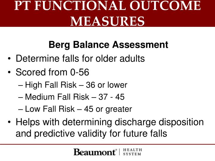 PT FUNCTIONAL OUTCOME