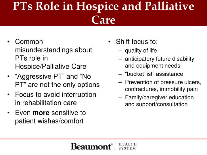 PTs Role in Hospice and Palliative Care