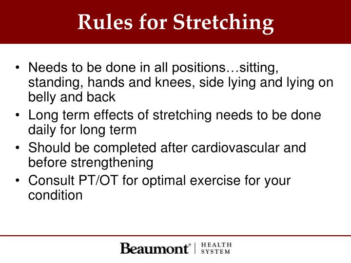Rules for Stretching