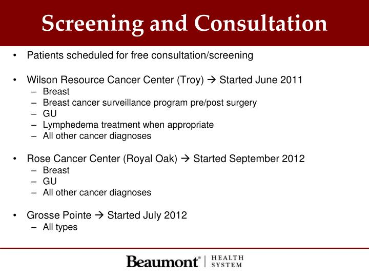 Screening and Consultation